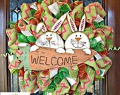 Whimsical  Burlap Easter Bunnies Wreath