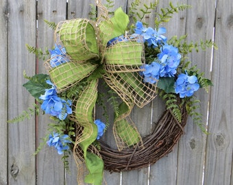 Wreath, Spring / Summer Wreath, Spring Burlap, Spring Hydrangea Wreath, Door Wreath,Mothers Day,Summer Wreath, Etsy, Horn's Handmade