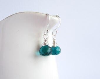 Teal Earrings, Teal Jewelry, Peacock Blue Earrings, Teal Wedding, Made in Sweden, Swedish Jewelry, Teal Drop Earrings, Wire Wrapped Jewelry