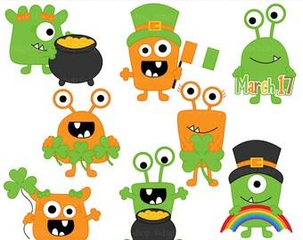 st. patrick's day clip art monsters irish digital clipart - Irish Monsters Digital Clip Art