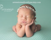 Baby Rhinestone And Pearl Halo Headband Rhinestone Tie Back Headband Baby Headband Stunning Vintage Style Newborn Photo Prop