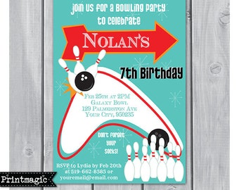 Bowling Party Invitation - Bowling Birthday Party - Bowling Invitation - Retro Bowling Party- Download & Personalize at home in Adobe Reader