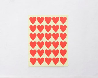 "Red Heart Stickers, Valentine's Heart Stickers/ Paper Stickers, Size 23x25mm or 1"" inch Heart Sticker , Set of 5 sheets or 150 hearts"