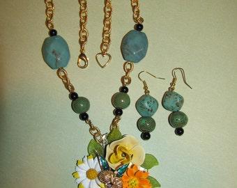 Vintage Handmade Ooak Spring Time Flower Garden Rhinestone Enamel Flower Necklace Earrings Set