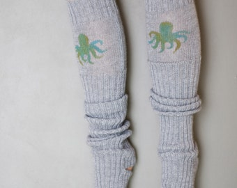 Octopus / Yoga socks / dance socks / leg warmers / boot socks Grey very long hand painted Accessories Women Clothing Ocean gift legwear