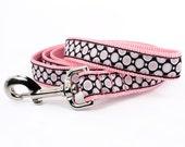 Pink dog leash, xs - xl pink, black, and white polka dot leash,  five or six feet long: Bella