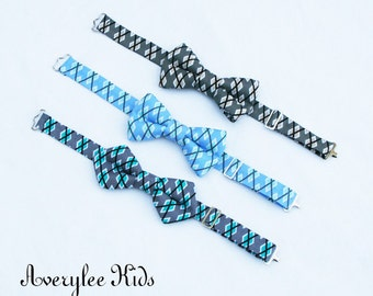 Boys Argyle Plaid Bow Ties, Grey Bow Ties, Turquoise Bow Tie, Blue Bow Tie. Toddler Bow Tie, Wedding Ring Bearer, Baptism, Page Boy