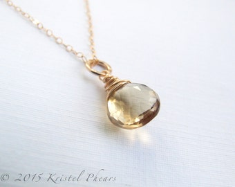 SALE - Champagne Quartz necklace - gold-filled or sterling wire-wrapped solitaire pendant, eco-friendly, bridal bridesmaid bridal Gift