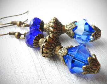 SALE 30%! Blue Earrings Victorian Earrings Vintage Dangles Cobalt Blue Sapphire Earrings