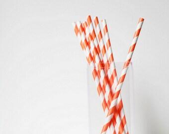 Orange Striped Paper Straws (25) Striped Paper Straws-Orange Wedding Straws-Party Straws-Paper Straws- Orange Decor