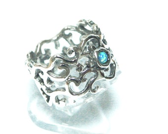 Fire Opal Ring 925 Sterling Silver Blue Vintage Filigree Antique Size 5 6 7 8 9, silver opal ring, fire opal jewelry, antique silver ring