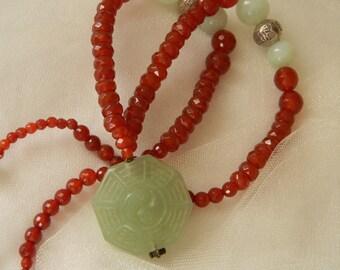 Jade pendant w faceted carnelian beads necklace , beaded jewelry , I Ching , Yin Yang jade pendant , octagonal shape jade/carnelian jewelry