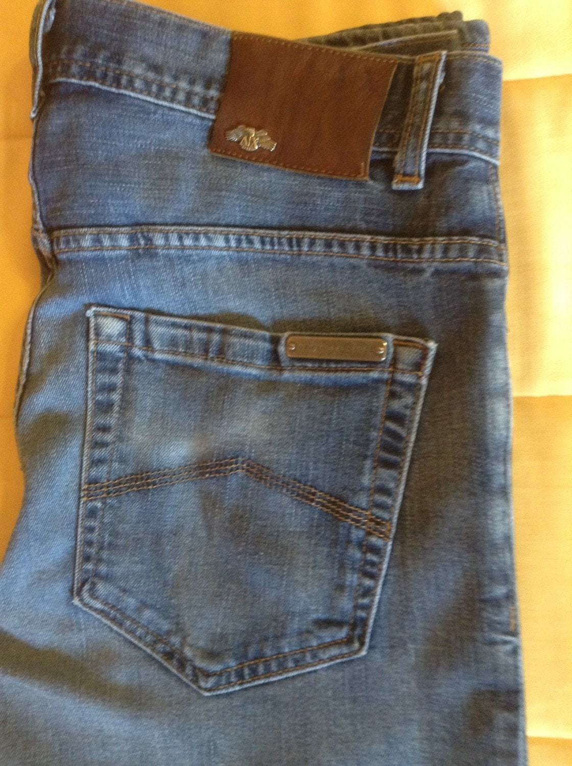 Mens 90s Armani Exchange Distressed Jeans 32X29 / Vintage