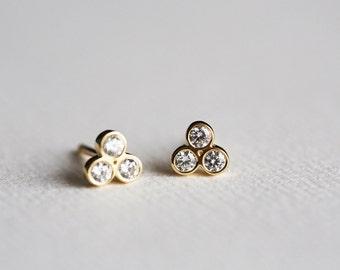Diamond Earrings, Gold Diamond Studs, Everyday gold studs, Small Diamond Earrings, 14k Solid Gold