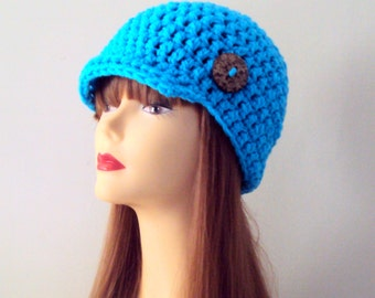 Crochet Hat with Button Bright Blue Brim Beanie Crochet Newsboy Cap with Button