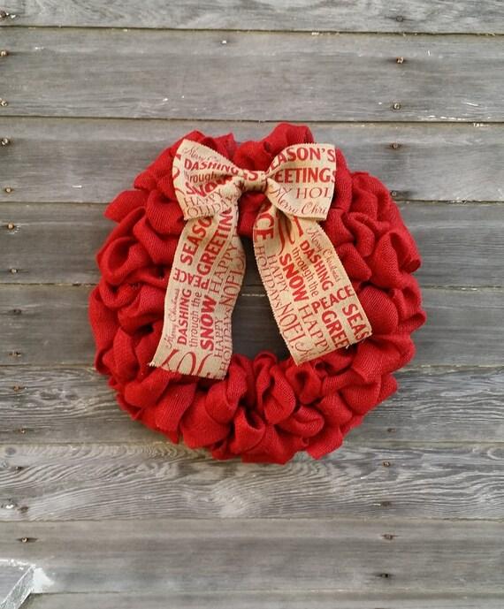 Red burlap christmas wreath front door wreath wreaths for Burlap christmas curtains