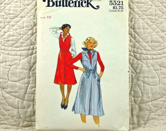 Jumper, S, Butterick 5521 Pattern, Fitted, Lapped Front Pleat, Pointed Collar, Drawstring Waist, 1970s Uncut, Size 10