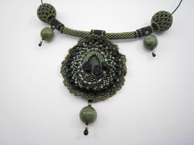 beadwork choker bead embroidery cabochon pendant by beadfizz