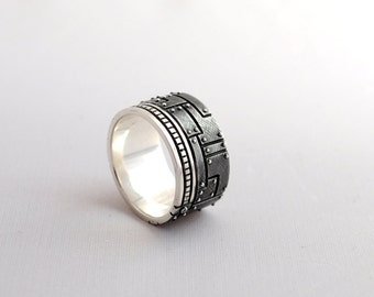 "Sterling Silver Industrial Ring ""Olivierus"" | Men's Steampunk Silver Ring | Cyberpunk Silver Ring"