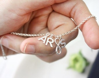 Personalized bracelet, Sterling Silver initial bracelet,infinity,silver infinity bracelet,initial charm, friendship bracelet,bridesmaid gift