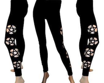 Black Pentagram Cut Out Leggings