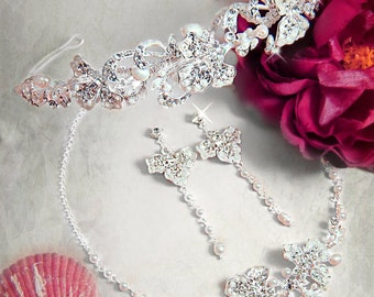 3 piece Bridal necklace set bridal jewelry Freshwater Pearl  Swarovski Crystal necklace bridal tiara