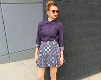 Silk Skater Skirt / Geometric Skirt / Printed Mini Skirt - Handmade by FallFellFallen