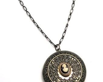 large locket necklace, multi strand locket necklace, vintage style locket necklace, cameo & locket necklace, cameo with locket necklace
