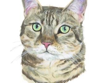 """11x14"""" // Custom Cat Portrait // 11x14"""" // Original Gouache Painting on Archival Watercolor Paper"""