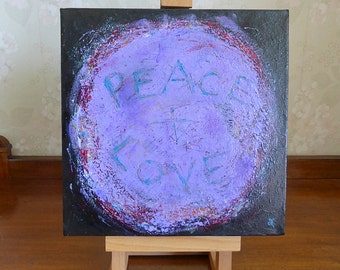 Peace and Love, small original painting, purple art, wall art ready to hang, abstract, unique gift, free shipping