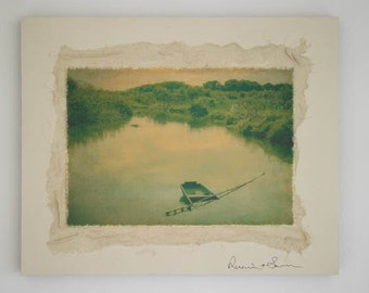 Quiet Lake ...Original photograph Collage Art,Japanese, Zen
