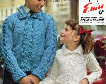 2a3041bc2c9a Vintage childrens collar cardigan knitting pattern PDF cable panel chunky  jacket DK cardigan 24-30 inch chunky or DK Instant download