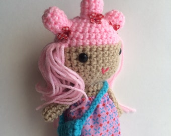 Handmade doll, Crochet doll, Pink hair, cute doll, soft toy, ready to ship