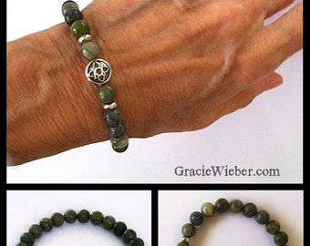 Men's Celtic Star, Serpentine Jade Bracelet, Nomad Style Mens Boho Jewelry, Unisex Stretch Bracelet, Irish Wedding, Groomsmen Gift