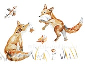 "Woodland, Fox Print, Fox Painting, Nursery Decor, Nursery Picture, Watercolor Painting, Nursery Print - ""Foxes Can Fly"" 8x10"