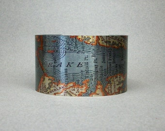 Chesapeake Bay Map Cuff Bracelet Maryland Virginia Unique Gift for Men or Women