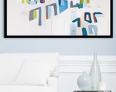Large Abstract Painting, Geometric art, 28X40 large wall art, MADE TO ORDER, mid century modern art, Blue grey, Acrylic painting