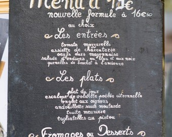Paris Chalkboard Photography, Menu Sign, Fine Art Photography Print, Paris Kitchen Decor, Large Wall Art