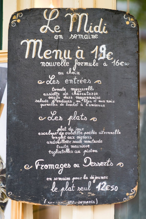 Paris chalkboard photography menu sign fine art photography for H kitchen paris menu
