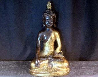 Shakyamuni Buddha Statue, Large Buddha Statue, 15 inch Gold Gild Bronze Sculpture, Nepal, Tibet Buddha Statue, Tibetan Buddha
