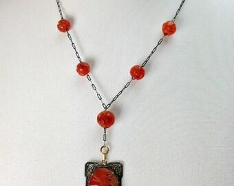 SALE Art Deco Carved Carnelian Necklace, Antique Chinese Carved Carnelian Filigree Necklace, NOW 325 WAS 375