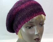 Purple Beret, Striped Tam, Hand Knit Slouchy Tam, Women's Hats, Purple Hat with Sparkle, Handmade in the USA, Ready to Ship, Free Shipping