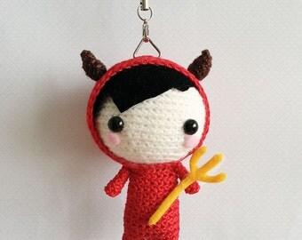 Halloween Devil Doll, Crochet Halloween Doll, Devil Amigurumi Doll, Halloween Gift, Halloween Toy, Halloween Accessory, Red Devil Charm