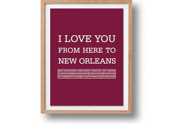 New Orleans Art Print - New Orleans Print - New Orleans Poster - Travel Art - Travel Artwork - I love you from here to New Orleans - Home