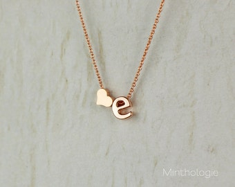 Heart Initial Necklace N1 • Gold, Silver, Rose Gold, Letter Necklace, Personalized Necklace, Bridesmaid Gift, Custom