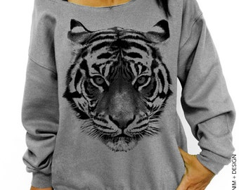 Tiger Sweatshirt - Gray Slouchy Sweatshirt - tiger shirt, gift for animal lover, big cats, cat lover shirt