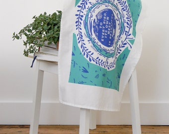 Flowers Tea Towel, Screen Print, Floral Dish Cloth, Turquoise, Blue, Housewarming gift, Gift For Her, Wall Art, Home Sweet Home