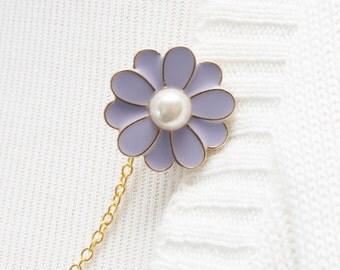 Sweater Clip - Lavender Purple Pearl Flower