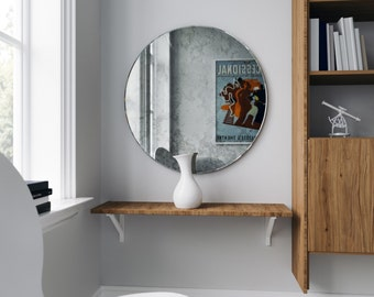 Round Antiqued Wall Mirror. Frameless decorative mirror hand made with European inspired antiquing technique. 1930s style round mirror.