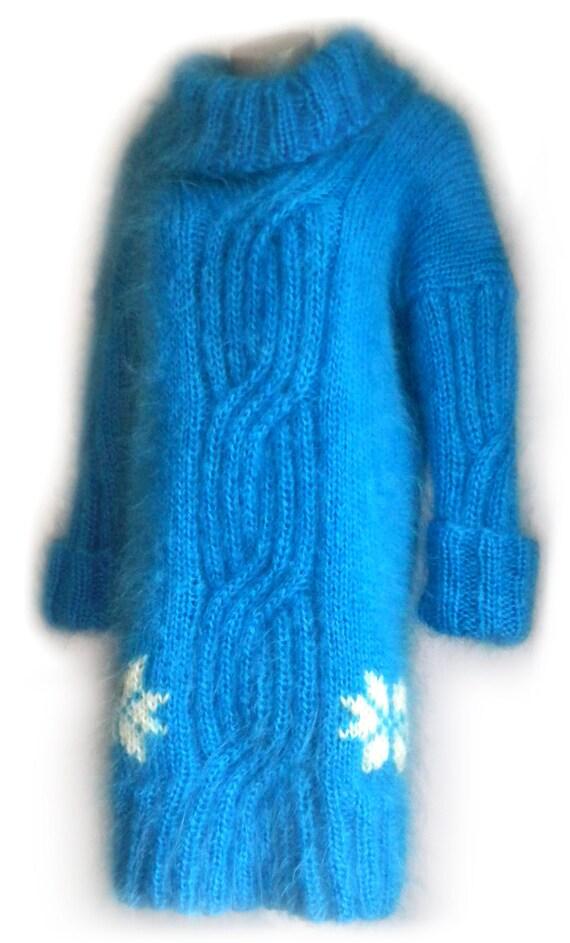 Knitting Patterns For Mohair Sweaters : Mohair sweater blue handmade knit mohair by LovelyHandKnitting